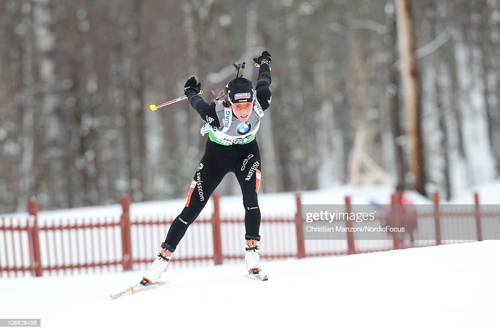 Selina Gasparin of Switzerland competes in the women's sprint during the E.ON IBU Biathlon World Cup on February 4, 2011 in Presque Isle, United States.
