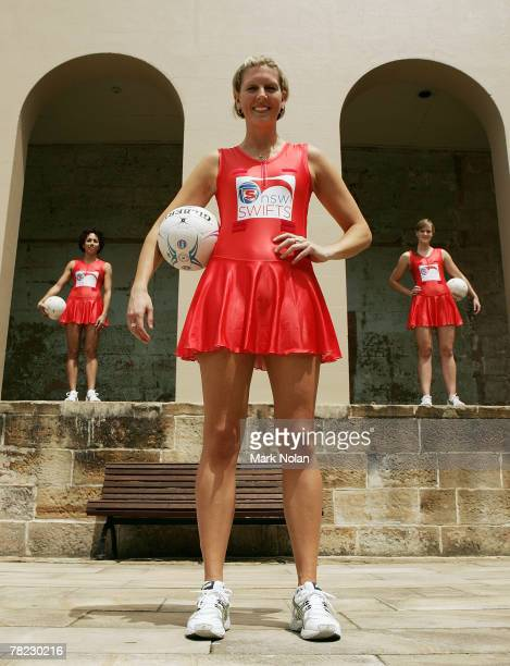 Selina Gilsenan Catherine Cox and Emma Koster of the New South Wales Swifts pose during the launch of the New South Wales team to compete in the new...