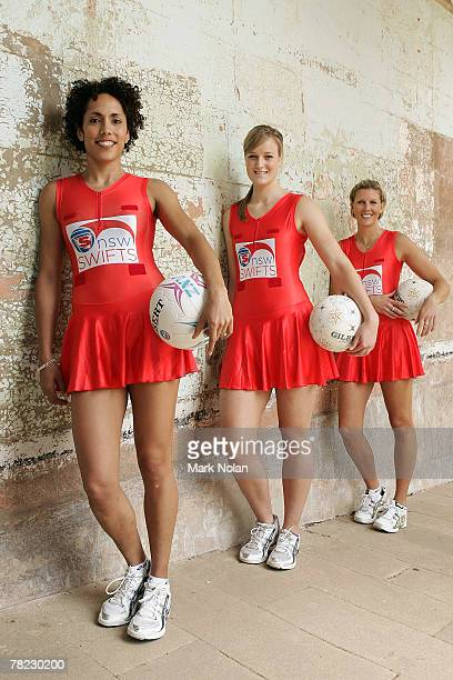 Selina Gilsenan Emma Koster and Catherine Cox of the New South Wales Swifts pose during the launch of the New South Wales team to compete in the new...