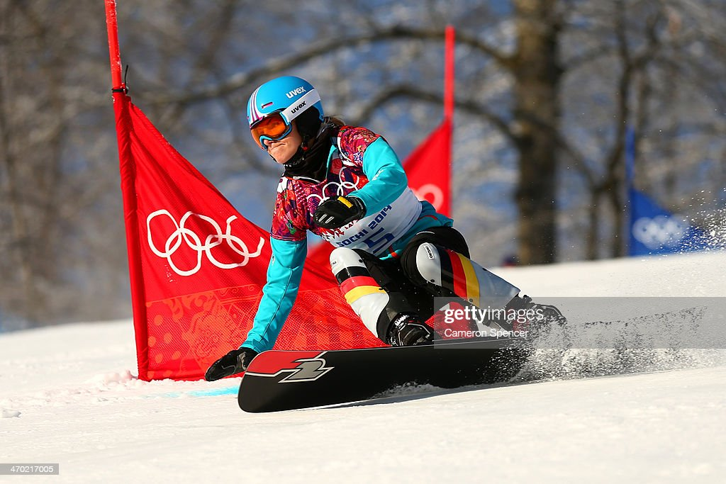 <a gi-track='captionPersonalityLinkClicked' href=/galleries/search?phrase=Selina+Joerg&family=editorial&specificpeople=2203884 ng-click='$event.stopPropagation()'>Selina Joerg</a> of Germany competes in the Snowboard Ladies' Parallel Giant Slalom Qualification on day twelve of the 2014 Winter Olympics at Rosa Khutor Extreme Park on February 19, 2014 in Sochi, Russia.