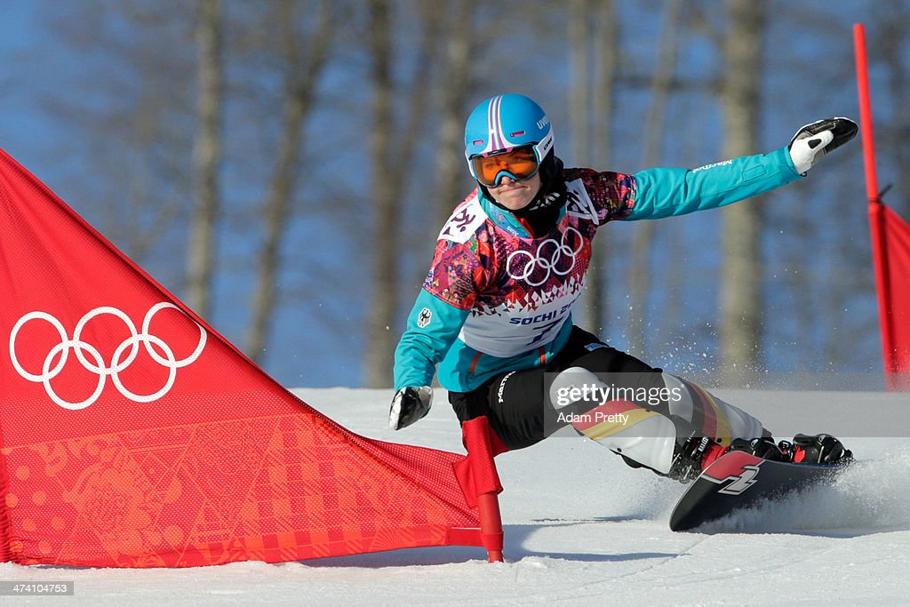 <a gi-track='captionPersonalityLinkClicked' href=/galleries/search?phrase=Selina+Joerg&family=editorial&specificpeople=2203884 ng-click='$event.stopPropagation()'>Selina Joerg</a> of Germany competes in the Snowboard Ladies' Parallel Slalom Qualification on day 15 of the 2014 Winter Olympics at Rosa Khutor Extreme Park on February 22, 2014 in Sochi, Russia.