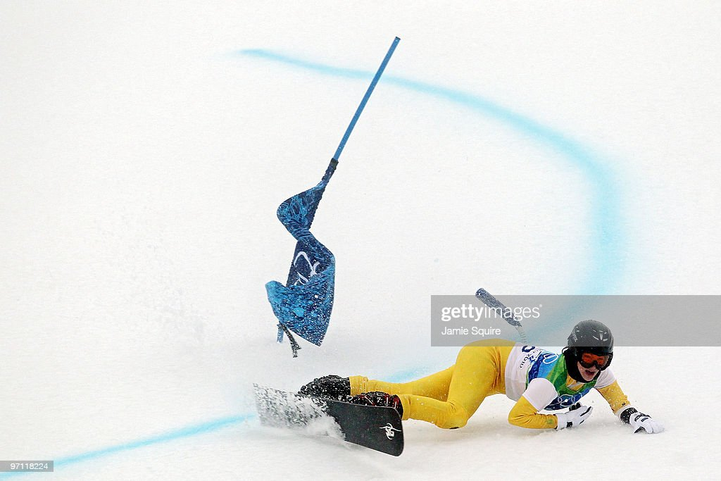 <a gi-track='captionPersonalityLinkClicked' href=/galleries/search?phrase=Selina+Joerg&family=editorial&specificpeople=2203884 ng-click='$event.stopPropagation()'>Selina Joerg</a> of Germany falls while competing during the Snowboard Ladies' Parallel Giant Slalom on day 15 of the Vancouver 2010 Winter Olympics at Cypress Mountain Resort on February 26, 2010 in Vancouver, Canada.