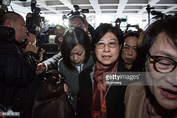 Selina Tsang wife of Hong Kong's former chief executive Donald Tsang center arrives at the High Court in Hong Kong China on Wednesday Feb 22 2017...