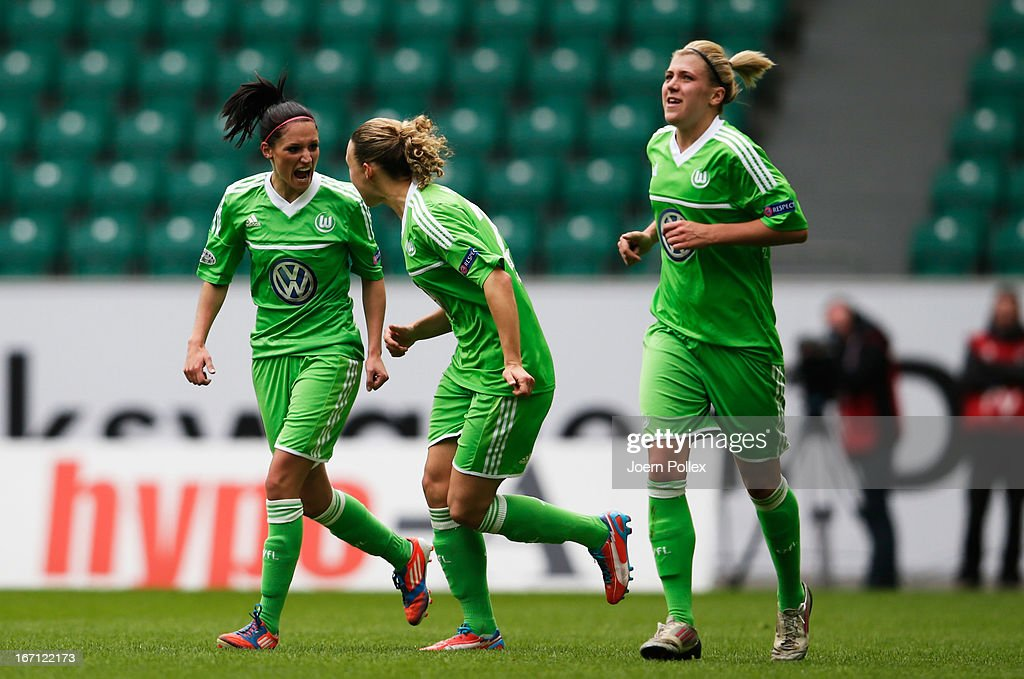 <a gi-track='captionPersonalityLinkClicked' href=/galleries/search?phrase=Selina+Wagner&family=editorial&specificpeople=4319848 ng-click='$event.stopPropagation()'>Selina Wagner</a> (L) of Wolfsburg celebrates with her team mates after scoring her team's first goal during the Women's Champions League semi-final second leg match between VfL Wolfsburg and Arsenal Ladies FC at Volkswagen Arena on April 21, 2013 in Wolfsburg, Germany.