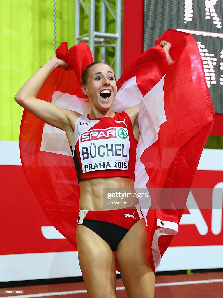 Seline Buchel of Switzerland wins gold in the Women's 800 metres Final during day three of the 2015 European Athletics Indoor Championships at O2...