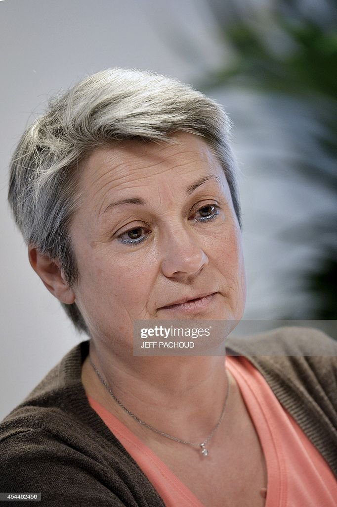 Seline Gros-Coissy, the mother of Aurore, a woman held in dentention in Mauricius for drug traffic, on September 1, 2014, in Lyon, during press conference held on the eve of the start of her daughter's trial. Aurore Seline Gros-Coissy was arrested on August 2011 after Mauritian police found in her luggage 1680 pills of Subutex, a substitute for heroin considered a hard drug there. She claims to have carried the pills unknowingly, trapped by her ex-friend. AFP PHOTO / JEFF PACHOUD