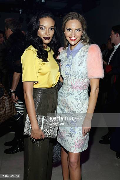 Selita Ebank and Jackie Miranne attend the Georgine Fall 2016 fashion show during New York Fashion Week The Shows at The Gallery Skylight at Clarkson...