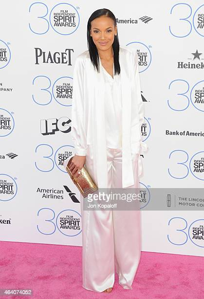 Selita Ebanks arrives at the 2015 Film Independent Spirit Awards on February 21 2015 in Santa Monica California