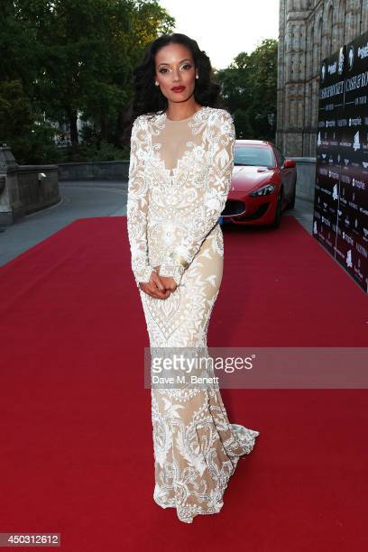 Selita Ebanks attends a gala dinner and auction to celebate the end of the Cash Rocket tour at Natural History Museum on June 8 2014 in London England