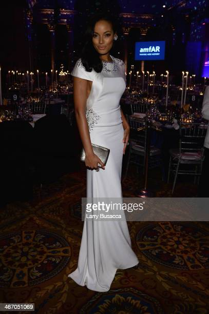 Selita Ebanks attends the 2014 amfAR New York Gala at Cipriani Wall Street on February 5 2014 in New York City
