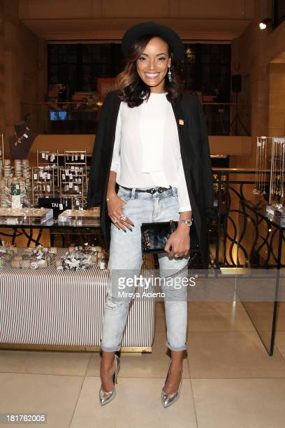 Selita Ebanks attends the Food Bank Ad Campaign Photo Exhibit Unveiling Hosted By Henri Bendel on September 24 2013 in New York