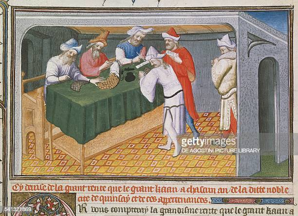 Selling merchandise and spices at the court of the Great Khan miniature from Book of the Wonders of the World manuscript 2810 folio 69 15th century...