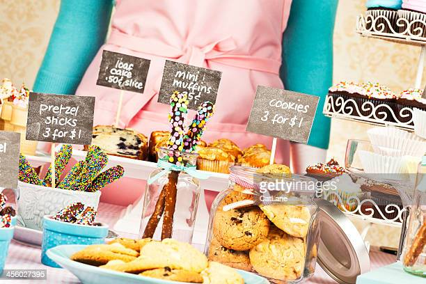 Selling Sweet Treats at Bake Sale Fundraiser