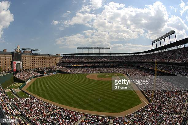 A sellout crowd watches the game between the Boston Red Sox and the Baltimore Orioles at Camden Yards on August 12 2007 in Baltimore Maryland