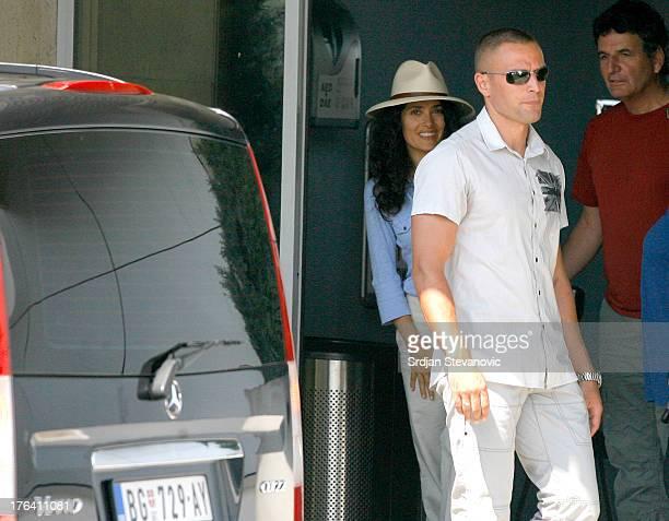 Selma Hayek arrives in Belgrade to start filming 'Everly' on August 12 2013 in Belgrade Belgium