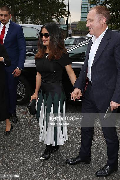 Selma Hayek seen arriving at Christopher Kane on Day 4 of London Fashion Week Spring/Summer 2017 on September 19 2016 in London England