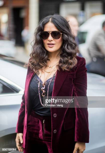 Selma Hayek wearing velvet seen outside Stella McCartney during Paris Fashion Week Spring/Summer 2018 on October 2 2017 in Paris France