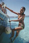 Selvaggia Borromeo enjoys a yachting holiday on the Costa Smeralda in Sardinia 1967