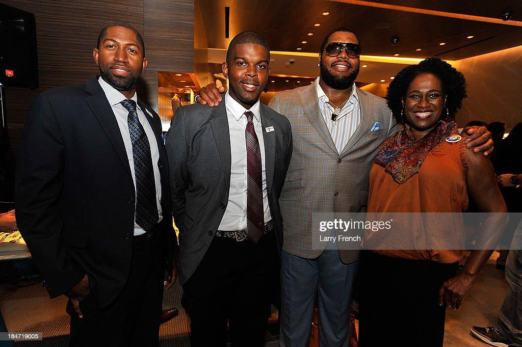 Selvon Waldron, Lorenzo McDonald, Chris Baker and Mary Brown are seen at the David Yurman Meteorite Launch With Chris Baker on October 15, 2013 in Mclean, Virginia.