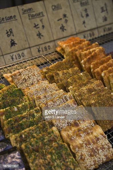 Sembei Japanese rice crackers can be found flavored with a wide array of flavours including soy sauce seaweed kelp sesame seeds soybeans plus a huge...