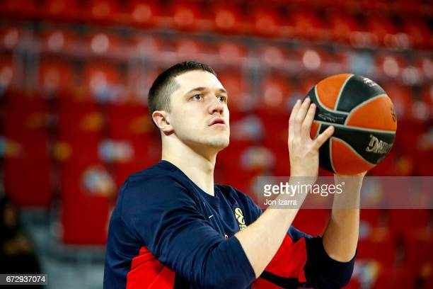 Semen Antonov #11 of CSKA Moscow warms up during the 2016/2017 Turkish Airlines EuroLeague Playoffs leg 3 game between Baskonia Vitoria Gasteiz v...