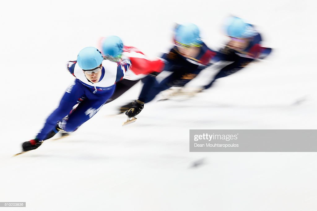 <a gi-track='captionPersonalityLinkClicked' href=/galleries/search?phrase=Semen+Elistratov&family=editorial&specificpeople=8823657 ng-click='$event.stopPropagation()'>Semen Elistratov</a> of Russia competes in the 1000m Mens Final during ISU Short Track Speed Skating World Cup held at The Sportboulevard on February 14, 2016 in Dordrecht, Netherlands.
