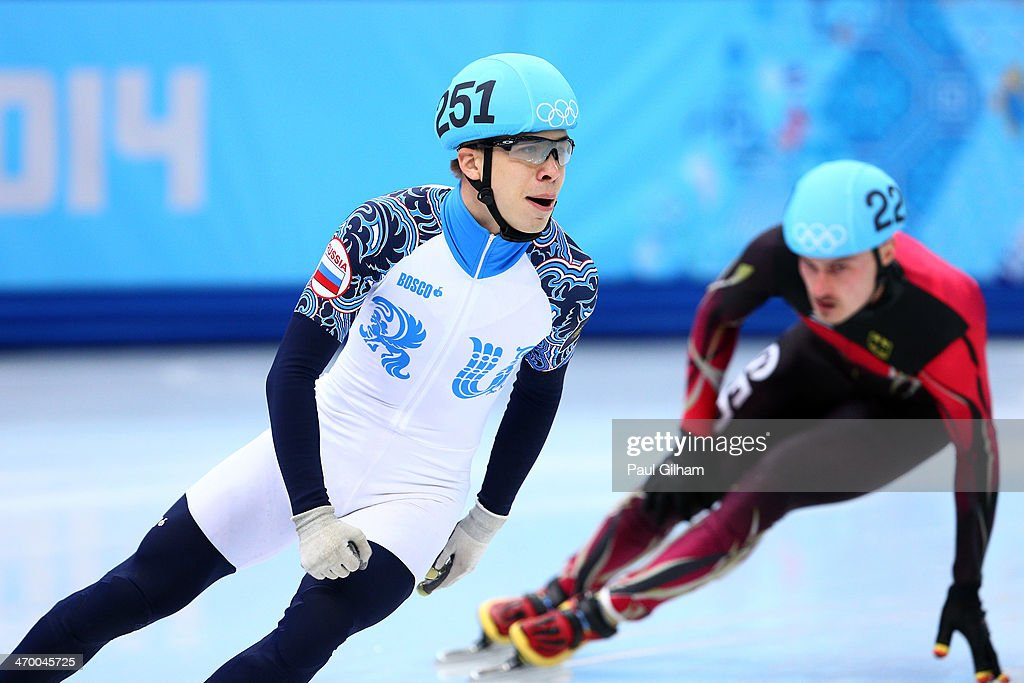 <a gi-track='captionPersonalityLinkClicked' href=/galleries/search?phrase=Semen+Elistratov&family=editorial&specificpeople=8823657 ng-click='$event.stopPropagation()'>Semen Elistratov</a> of Russia reacts after competing in the Short Track Men's 500m Heat at Iceberg Skating Palace on day 11 of the 2014 Sochi Winter Olympics on February 18, 2014 in Sochi, Russia.