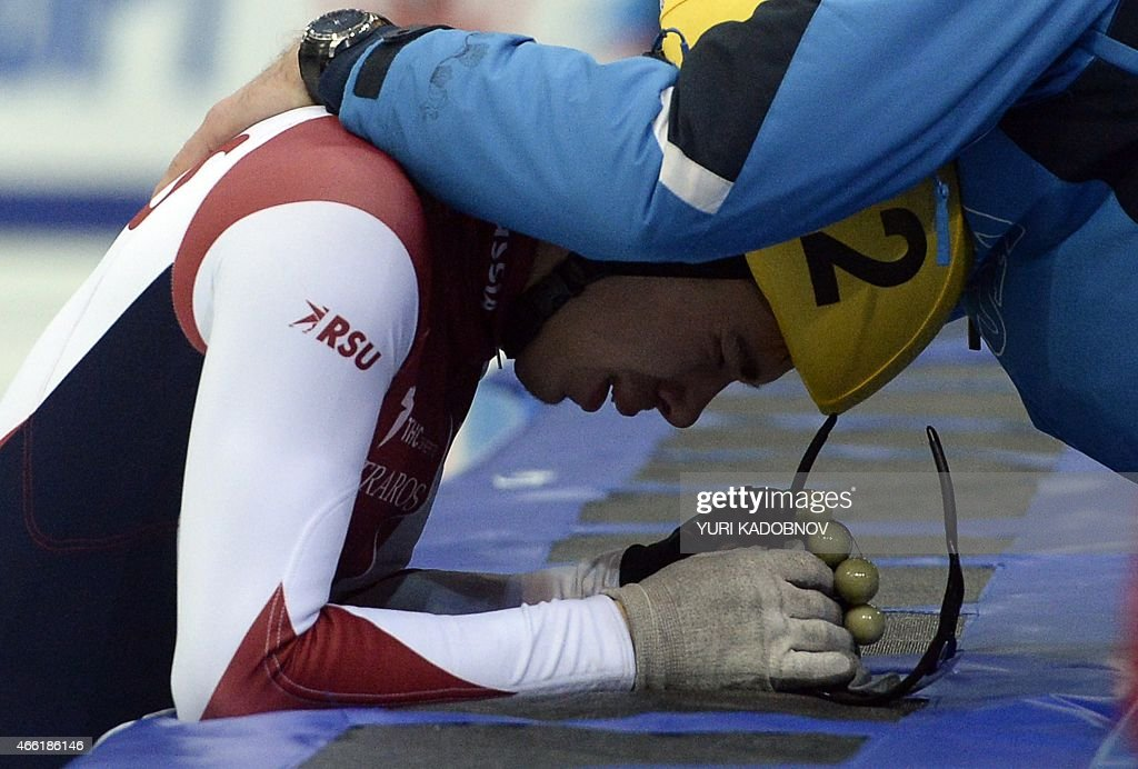 <a gi-track='captionPersonalityLinkClicked' href=/galleries/search?phrase=Semen+Elistratov&family=editorial&specificpeople=8823657 ng-click='$event.stopPropagation()'>Semen Elistratov</a> of Russia reacts after winning the men's 1500m final race of the ISU World Short Track Speed Skating Championships in Moscow on March 14, 2015.
