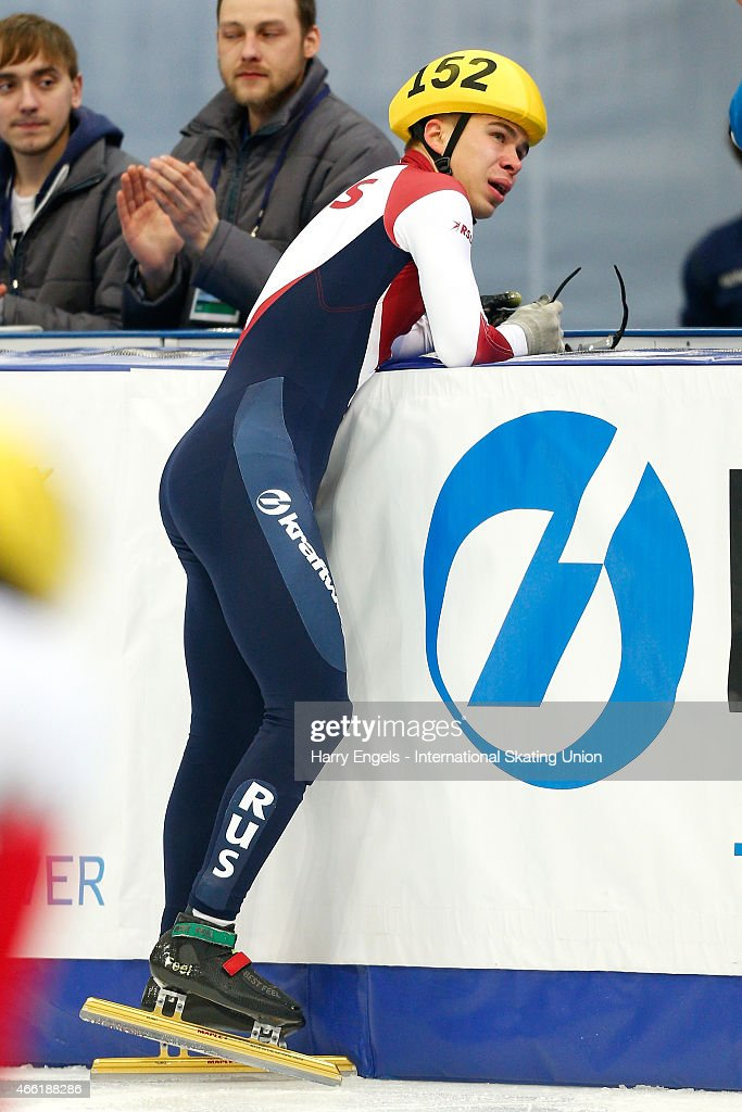 <a gi-track='captionPersonalityLinkClicked' href=/galleries/search?phrase=Semen+Elistratov&family=editorial&specificpeople=8823657 ng-click='$event.stopPropagation()'>Semen Elistratov</a> of Russia reacts after winning the Men's 1500m Final on day two of the ISU World Short Track Speed Skating Championships at the Krylatskoe Speed Skating Centre on March 14, 2015 in Moscow, Russia.