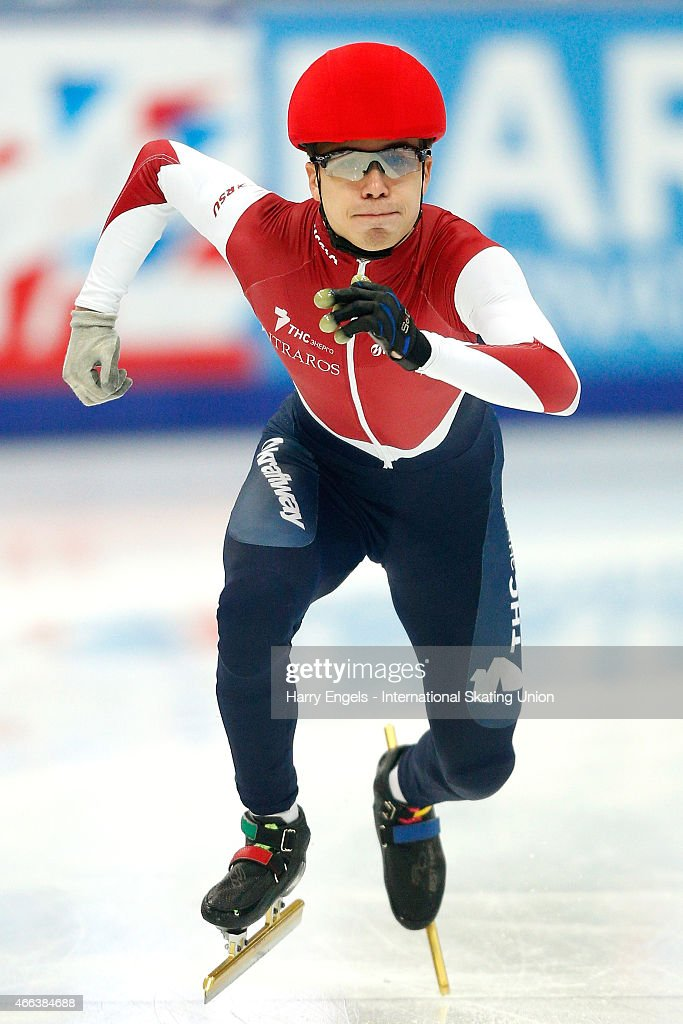 <a gi-track='captionPersonalityLinkClicked' href=/galleries/search?phrase=Semen+Elistratov&family=editorial&specificpeople=8823657 ng-click='$event.stopPropagation()'>Semen Elistratov</a> of Russia sprints off from the start during the Men's 1000m Quarterfinals on day three of the ISU World Short Track Speed Skating Championships at the Krylatskoe Speed Skating Centre on March 15, 2015 in Moscow, Russia.