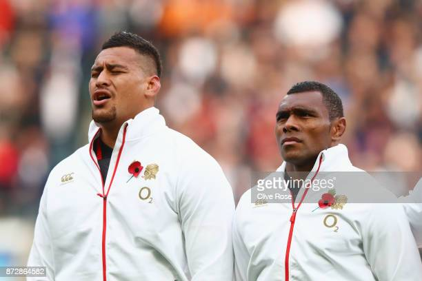 Semesa Rokoduguni and Mako Vunipola of England stand for the national anthem during the Old Mutual Wealth Series match between England and Argentina...