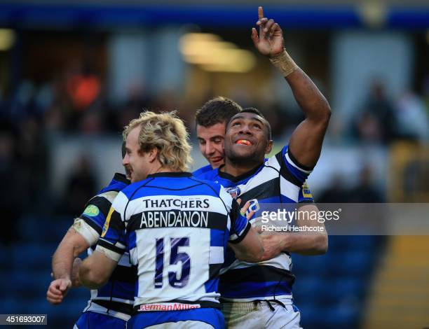 Semesa Rokoduguni of Bath celebrates scoring a try during the Aviva Premiership match between London Wasps and Bath Rugby at Adams Park on November...