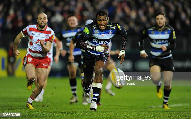 Semesa Rokoduguni of Bath chases after the ball during the Aviva Premiership match between Bath Rugby and Gloucester Rugby at the Recreation Ground...