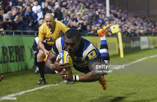 Semesa Rokoduguni of Bath dives in to score their fifth try during the Aviva Premiership match between Bath and London Irish at the Recreation Ground...