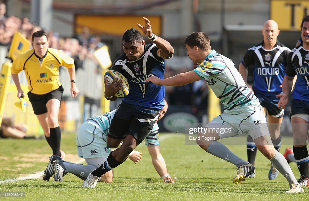 Semesa Rokoduguni of Bath moves past <a gi-track='captionPersonalityLinkClicked' href=/galleries/search?phrase=Ben+Youngs&family=editorial&specificpeople=3970947 ng-click='$event.stopPropagation()'>Ben Youngs</a> during the Aviva Premiership match between Bath and Leicester Tigers at the Recreation Ground on April 20, 2013 in Bath, England.