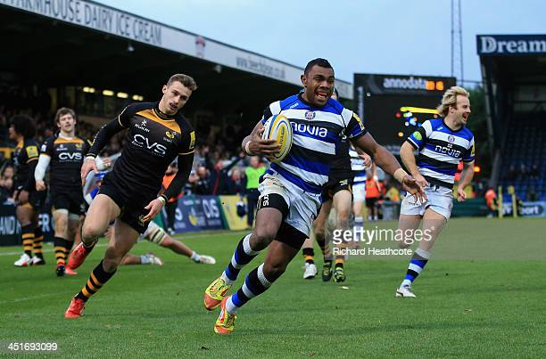 Semesa Rokoduguni of Bath runs in to score a try during the Aviva Premiership match between London Wasps and Bath Rugby at Adams Park on November 24...