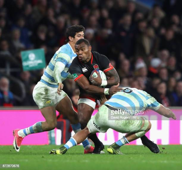 Semesa Rokoduguni of England breaks the tackle of Pablo Matera of Argentina during the Old Mutual Wealth Series match between England and Argentina...