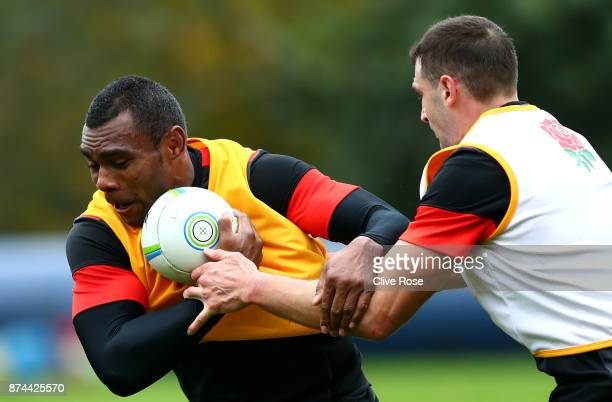 Semesa Rokoduguni of England takes part in a training session during England Media Access ahead of the Autumn International between England and...