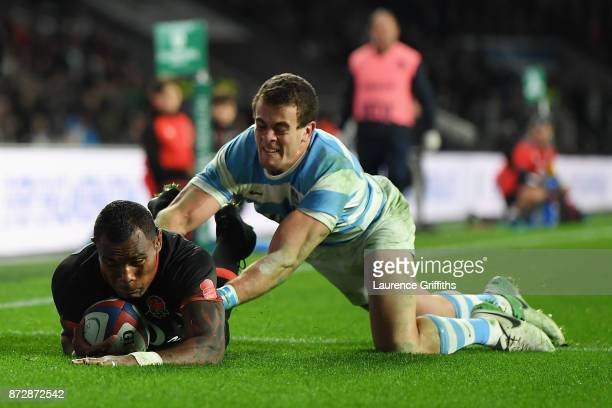 Semesa Rokoduguni of England touches down for the second try during the Old Mutual Wealth Series match between England and Argentina at Twickenham...