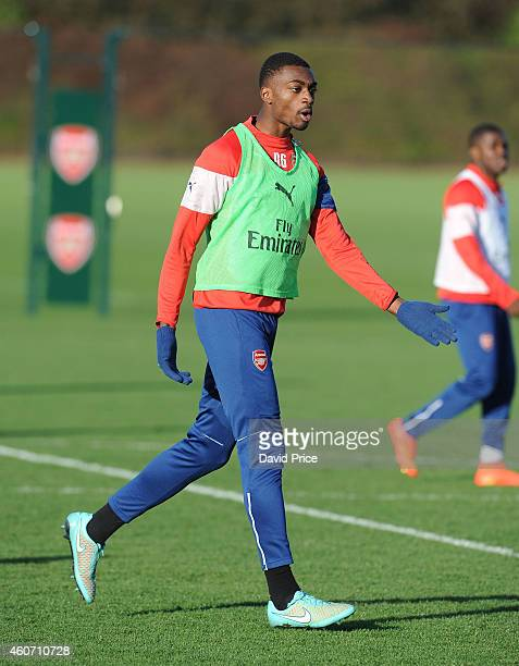 Semi Ajayi of Arsenal during the Arsenal Training Session at London Colney on December 20 2014 in St Albans England