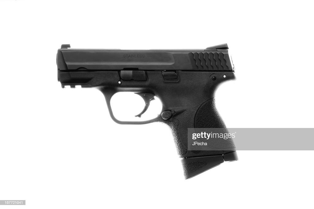 Semi Automatic Pistol Isolated on White