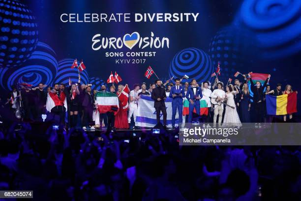 Semi Final 3 winners pose on stage during the second semi final of the 62nd Eurovision Song Contest at International Exhibition Centre on May 11 2017...