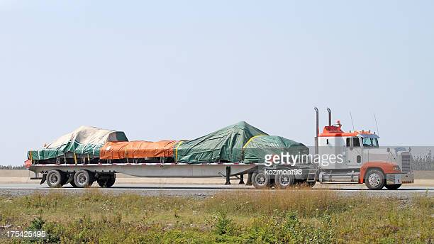 Semi Flatbed With Covered Load