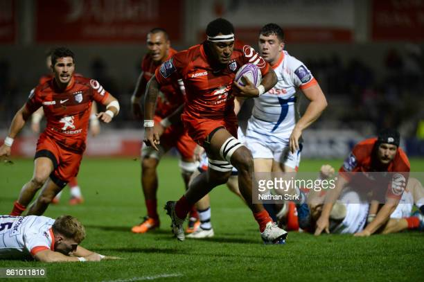 Semi Kunatani of Toulouse in action during the European Rugby Challenge Cup match between Sale Sharks and Toulouse on October 13 2017 in Salford...