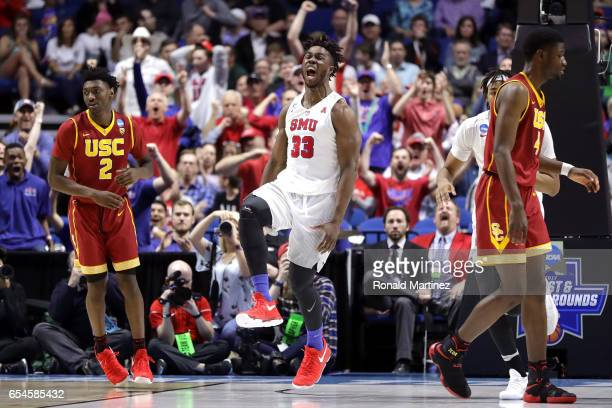 Semi Ojeleye of the Southern Methodist Mustangs reacts after a play in the second half against the USC Trojans during the first round of the 2017...