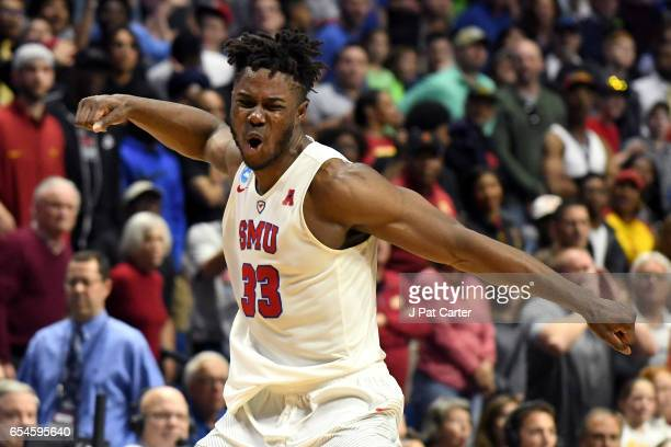 Semi Ojeleye of the Southern Methodist Mustangs reacts in the second half against the USC Trojans during the first round of the 2017 NCAA Men's...
