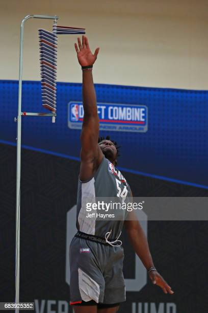 Semi Ojeleye participates in the vertical jump during the NBA Draft Combine Day 2 at the Quest Multisport Center on May 12 2017 in Chicago Illinois...