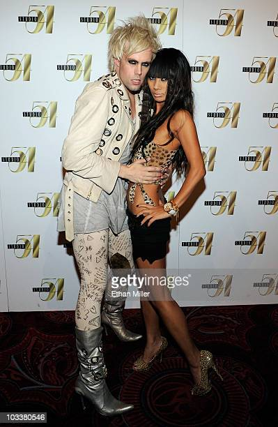 Semi Precious Weapons singer Justin Tranter and actress Bai Ling arrive at an afterconcert party at Studio 54 inside the MGM Grand Hotel/Casino early...