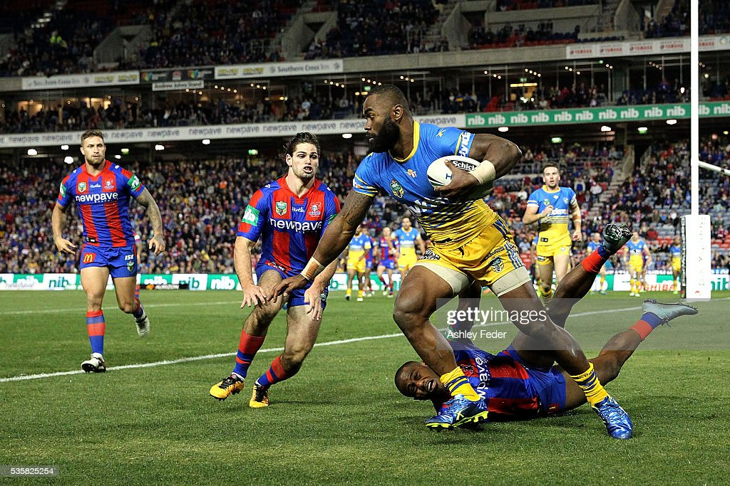Semi Radrada of the Eels in action during the round 12 NRL match between the Newcastle Knights and the Parramatta Eels at Hunter Stadium on May 30, 2016 in Newcastle, Australia.