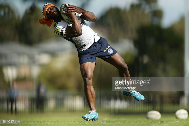 Semi Radradra catches a ball during a Parramatta Eels training session at the Eels Training Centre on July 1 2016 in Sydney Australia